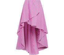 Adelle Asymmetric Gingham Cotton-poplin Mini Skirt Magenta