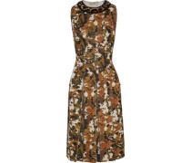 Embellished Printed Shearling-trimmed Scuba Dress Brown