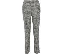 Houndstooth wool-tweed straight-leg pants