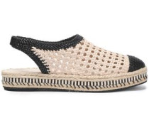 Two-tone woven leather slingback espadrilles