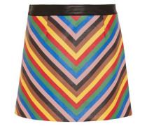Striped leather mini skirt