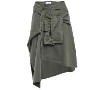Asymmetric Tie-front Denim Skirt Army Green