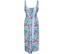 Gathered Floral-print Cloqué Midi Dress Azure