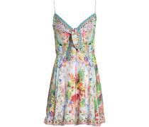 Sundowners Embellished Printed Linen Mini Dress Sky Blue