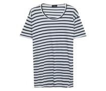Woman Striped Organic Cotton-jersey T-shirt White