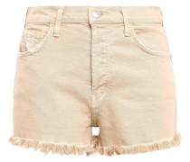 Distressed Frayed Denim Shorts Beige  8