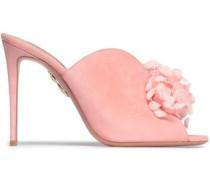 Floral-appliquéd Suede Mules Baby Pink