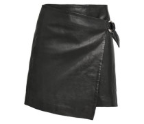 Wrap-effect Leather Mini Skirt Black Size 0