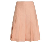 Pleated cotton and linen-blend twill skirt
