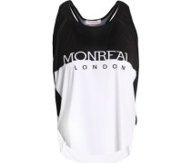 Mesh-trimmed two-tone stretch-jersey tank