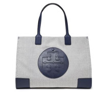 Woman Leather-trimmed Canvas Tote Navy
