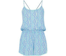 Liv Lace-trimmed Voile Playsuit Turquoise