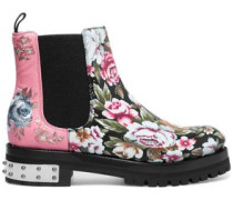 Floral embroidered and printed leather ankle boots