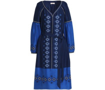 Belted embroidered silk kaftan