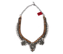 Woman Silver-tone, Crystal And Satin Necklace Bronze