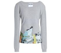 Appliquéd Mélange Stretch-knit Sweater Light Gray