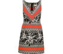 Mitered pleated printed cotton-blend mini dress