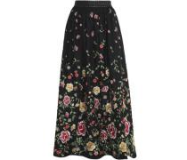Studded embroidered poplin maxi skirt