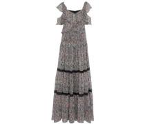 Cold-shoulder lace-trimmed printed georgette maxi dress