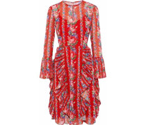 Pleated ruffled floral-print fil coupé georgette dress