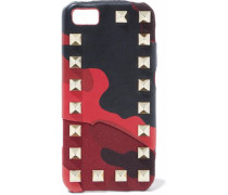 Rockstud Printed Leather And Canvas Iphone 5 Case Red Size --