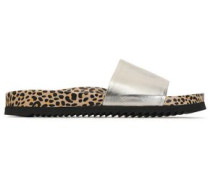 Metallic and leopard-print leather slides