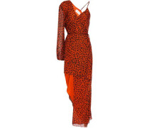 Woman Asymmetric Layered Leopard-print Silk-chiffon Maxi Dress Papaya
