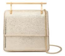 Metallic Cracked-leather Shoulder Bag Gold Size --