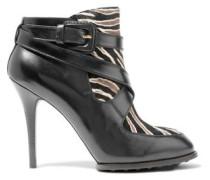 Zebra-print Calf Hair-paneled Leather Ankle Boots Black
