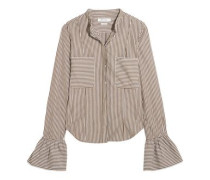 Fluted Striped Cotton-poplin Shirt Grey Green