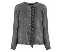 Pintucked ruffled silk-blend twill-lamé blouse