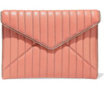 Leo Zip-embellished Quilted Leather Envelope Clutch Antique Rose Size --