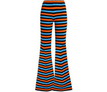 Striped Cotton Flared Pants Multicolor
