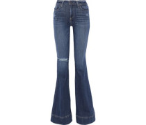 Beautiful Distressed Low-rise Flared Jeans Mid Denim  7