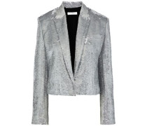Woman Napli Cropped Sequined Cotton Blazer Silver
