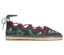Gillie lace-up embellished canvas espadrilles