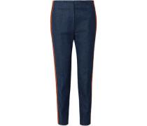 Zip-detailed Striped High-rise Slim-leg Jeans Mid Denim