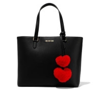 Pompom-embellished Faux Leather Tote Black Size --