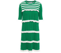 Woman Lattice-trimmed Two-tone Striped Ribbed Cotton Mini Dress Green