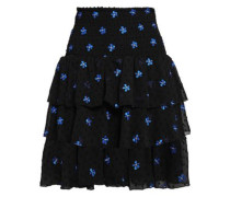 Tiered Embroidered Knitted Mini Skirt Black
