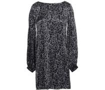 Open-back Leopard-print Silk-satin Mini Dress Gunmetal