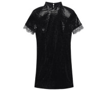Edie Lace-trimmed Sequined Tulle Mini Dress Black