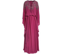 Draped bead-embellished silk crepe de chine gown
