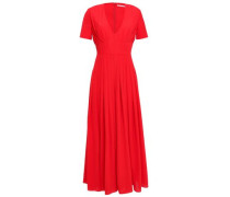 Woman Rona Cropped Pleated Crepe Wide-leg Jumpsuit Tomato Red