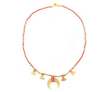 Gold-tone, horn, bead and cord necklace