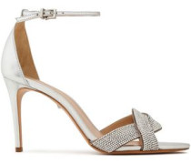 Jolita Crystal-embellished Metallic Leather Sandals Silver