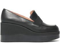 Leather Platform Loafers Black