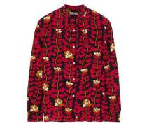 Printed Silk Crepe De Chine Shirt Red