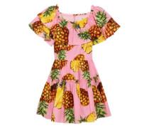 Ruffled printed cotton-poplin mini dress