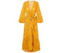 Exotic Pitaya Floral-print Silk-satin Wrap Dress Saffron Size 0